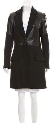 Dries Van Noten Leather Paneled Wool Coat
