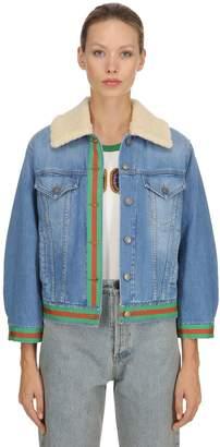 Gucci Denim Jacket W/ Web & Faux Shearling