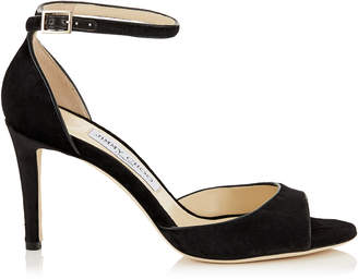 Jimmy Choo ANNIE 85 Black Crushed Velvet Peep Toe Sandals