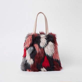 River Island Pink crazy fur shopper