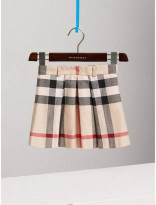 Burberry Childrens Pleated Check Cotton Skirt