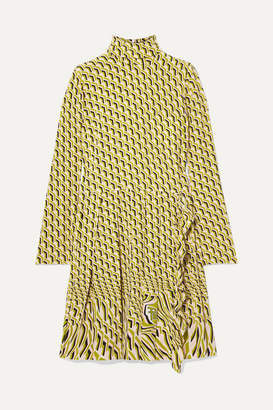 Prada Pleated Printed Silk Crepe De Chine Dress - Green