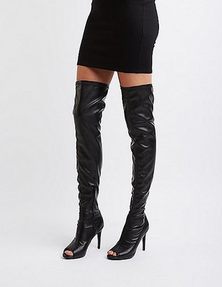 Peep Toe Faux Leather Thigh-High Boots $52.99 thestylecure.com