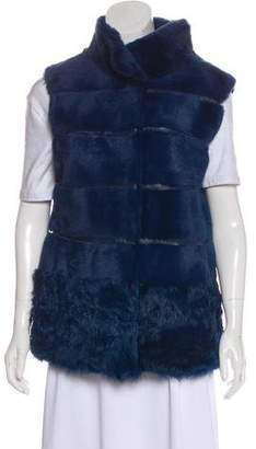 Annabelle Fur Leather-Trimmed Vest w/ Tags