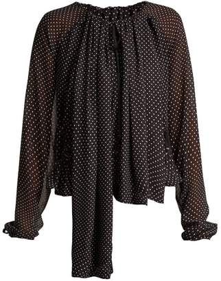 Loewe Polka Dot Ruched Blouse - Womens - Black White