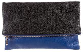 Neiman Marcus Leather Fold-Over Clutch