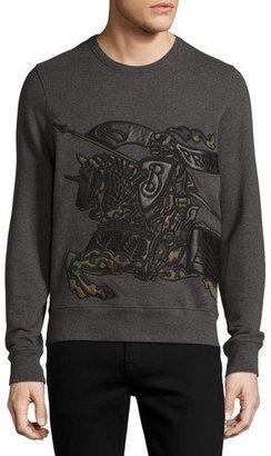 Burberry Camo & Leather Equestrian Knight Sweatshirt $495 thestylecure.com