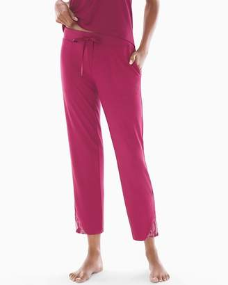 Cool Nights Lace Trim Ankle Pajama Pants Cranberry