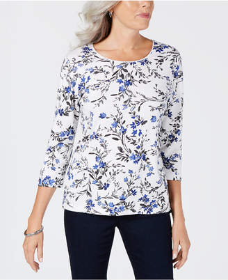Karen Scott Petite Floral-Print Top, Created for Macy's