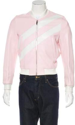 Thom Browne 2017 Striped Leather Bomber Jacket w/ Tags