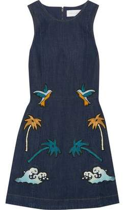Victoria Victoria Beckham Embroidered Denim Mini Dress