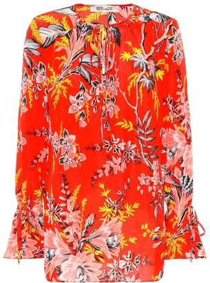 Diane von Furstenberg Floral silk tie-neck blouse