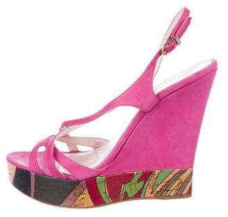 Emilio Pucci Leather Platform Wedges