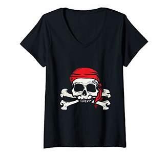 Womens Jolly Roger Pirate | Skull and Crossbones | Gift V-Neck T-Shirt