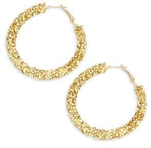Panacea Crystal Hammered Hoop Earrings