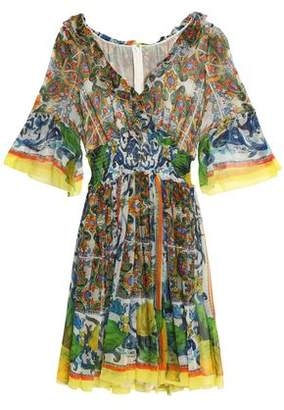 Dolce & Gabbana Ruffle-Trimmed Printed Silk-Chiffon Dress