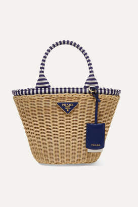5fb73d0e13 Prada Giardiniera Striped Canvas-trimmed Wicker Tote - Blue