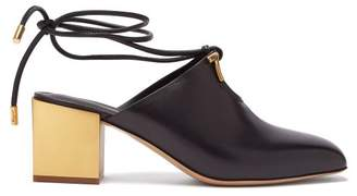 Salvatore Ferragamo Laino Gold Heel Leather Mules - Womens - Black