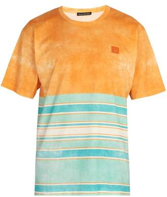Acne Studios - Striped Cotton T Shirt - Mens - Orange