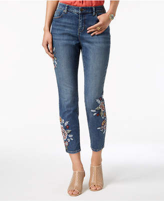 Style&Co. Style & Co Curvy-Fit Embroidered Skinny Jeans, Created for Macy's