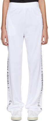 Givenchy White and Silver Logo Lounge Pants