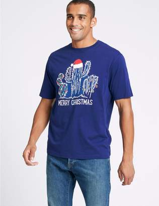 Marks and Spencer Pure Cotton Cactus Christmas T-Shirt