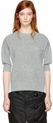 Sacai Grey & White Hybrid Shirt Pullover $500 thestylecure.com