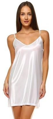 Melody Women's V neck basic satin full slip with adjustable straps (Ivory, Medium)