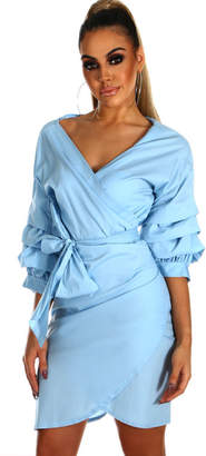 Pink Boutique Get Your Frills Blue Frill Sleeve Wrap Front Mini Dress