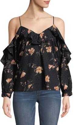 Paige Arabeth V-Neck Cold-Shoulder Floral-Print Cotton Dobby Blouse