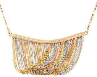 14K Tricolor Fringe Pendant Necklace