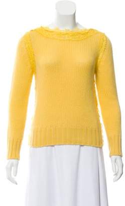 Ermanno Scervino Lace-Trimmed Knit Sweater Yellow Lace-Trimmed Knit Sweater