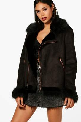 boohoo Jessica Boutique Faux Fur Collar and Cuff Aviator Jacket