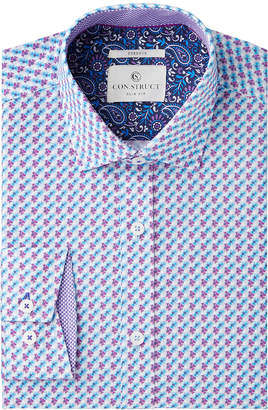 Con. Struct Men's Slim-Fit Stretch Blue/Purple Floral Dress Shirt, Created for Macy's