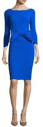 La Petite Robe di Chiara Boni Brestyn 3/4-Sleeve Bow-Trim Cocktail Dress, Cobalt $695 thestylecure.com