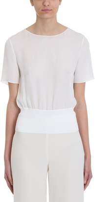 Theory Rib Ivory Silk T-shirt