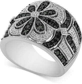 Macy's Diamond Floral Pattern Ring (1 ct. t.w.) in Sterling Silver