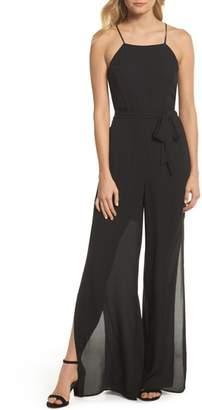 FOREST LILY Wide Leg Halter Jumpsuit