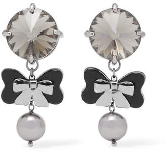 Miu Miu Silver-tone, Acetate And Crystal Clip Earrings - Black