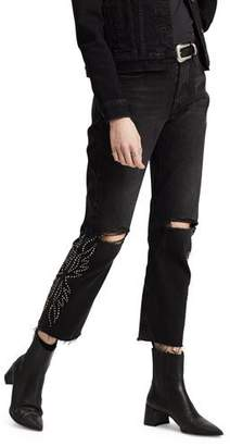 Levi's Premium 501 Crop Distressed Straight Jeans with Rivets