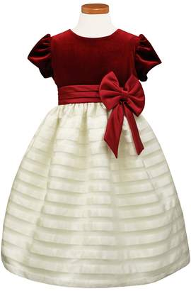 Sorbet Velvet & Organza Dress with Satin Bow
