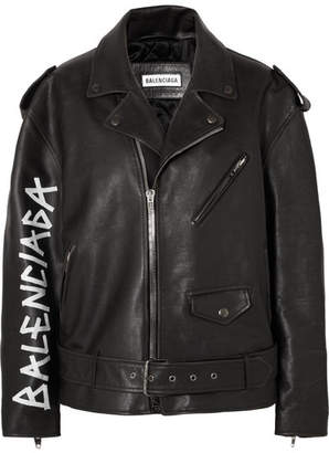 Oversized Painted Textured-leather Biker Jacket - Black