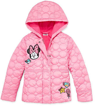 Disney Girls Minnie Mouse Hooded Water Resistant Midweight Quilted Jacket-Toddler