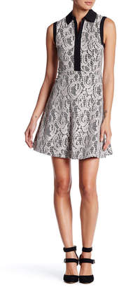 Betsey Johnson Lace Fit & Flare Shirt Dress