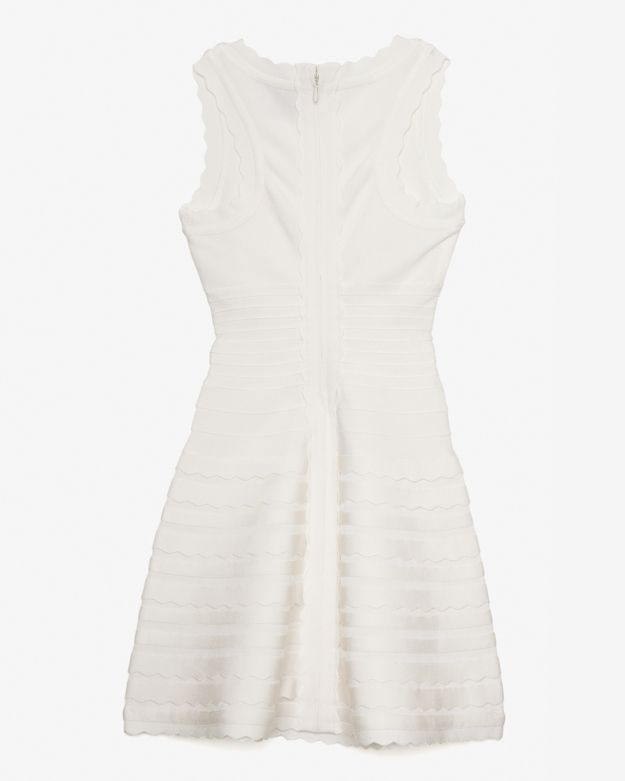 Herve Leger Scalloped Bandage Tier Flare Dress: White