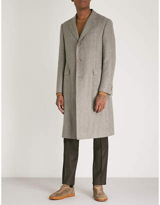 Corneliani Checked tailored-fit wool overcoat