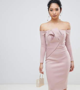 Asos Long Sleeve Bandeau Origami Front Midi Dress