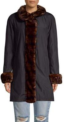 Gallery Faux Fur Long-Sleeve Coat