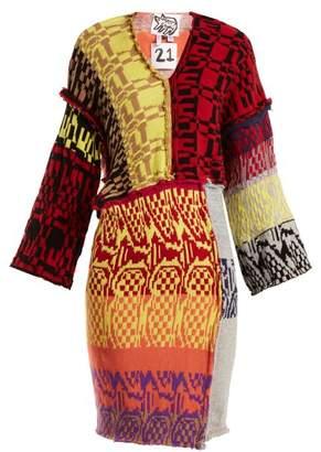 Matty Bovan - Patchwork V Neck Mini Dress - Womens - Multi