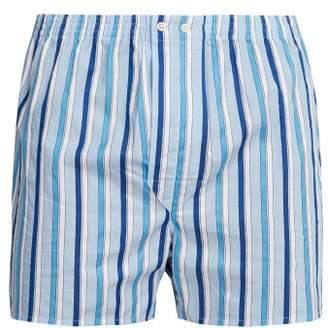 Derek Rose Stowe Striped Cotton Satin Boxer Shorts - Mens - Blue
